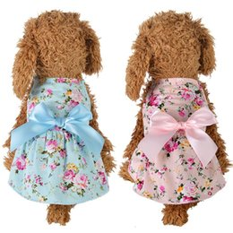 small puppies dresses bows 2020 - Dog Cute Floral Bow Dresses Pet Dog Wedding Dress For Small Dogs Summer Chihuahua Pug Yorkie Clothing Puppy Cat Supplies