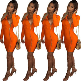 dresses apparel NZ - Solid Color Designer Womens Dresses Sexy Zipper Autumn Womens Dresses Night Club Womens Apparel New Arrival