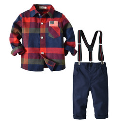 $enCountryForm.capitalKeyWord UK - Boy Plaid Shirts with Cotton Overalls Kids Clothing Spring Baby Boy Gentleman Clothing Sets Casual Baby Outfits