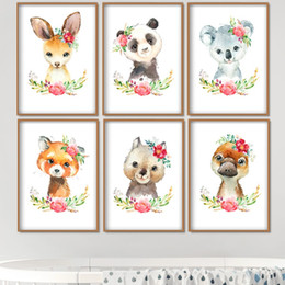 canvas prints for kids room Australia - Cartoon Animals Koala Panda Duck Wall Art Canvas Painting Print Nordic Posters And Prints Wall Pictures For Kids Room Decor