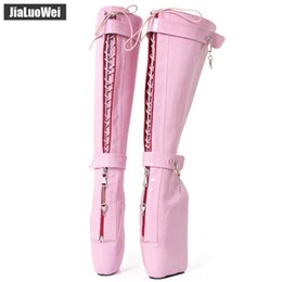 Ball zip online shopping - Pink NEW Women Sexy High Boots cm Wedges Pony Heelless Sole Lockable Zipper padlocks Knee High Ballet Boots SM Unisex Costume ball Shoes