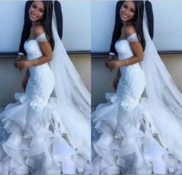 $enCountryForm.capitalKeyWord NZ - 2019 New Fashion Mermaid Wedding Gowns Bridal Gowns Off Shoulder Lace Appliques Organza Tiered Skirts Zipper Back Wedding Gowns Custom Ma