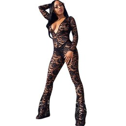 Black See Through Lace Jumpsuit Australia - Women Floral Black Lace Bodycon Jumpsuit Romper Sexy Deep V-neck Mesh See-through Long Sleeve Jumpsuit Flare Pants Club Overalls