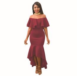 $enCountryForm.capitalKeyWord UK - Womens Dress Nice New Simple Ruffled Dresses Fashion One-shoulder Long-skirt Multi-color Optional Size S-xl