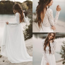 Discount lace tops low back wedding dresses - Simple Fall White Top Lace Cheap Country Beach Wedding Dresses 2019 V Neck Full Sleeve Chiffon Low Back Bohemian Bridal
