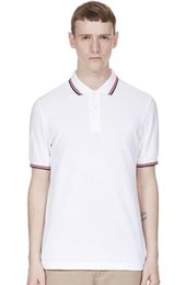 $enCountryForm.capitalKeyWord Australia - London Brit Men fred Polo Shirt Male Stripe Collar Solid Polos Twin Tipped England Men Cotton Top Camisa Tennis golf Polos White Black