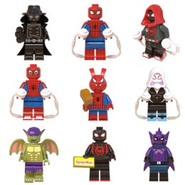 spider building blocks NZ - 9 pcs Super Hero Spider Man Into the Spider-Verse Peter Parker Green Goblin Miles Morales Building Block Brick Mini Toy Action Figure