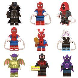 $enCountryForm.capitalKeyWord Australia - 9pcs Super Hero Spider Man Into the Spider-Verse Peter Parker Green Goblin Miles Morales Building Block Brick Mini Toy Figure