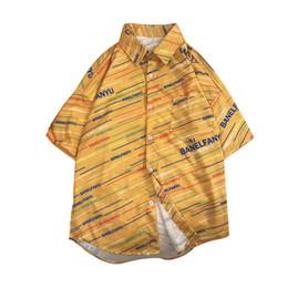 Polyester Short Sleeve Shirts Men Australia - Men shirt short sleeve Summer Fashion Shirts polyester blouse Casual Beach turn-down collar Tops Loose Sport Blouse 0509