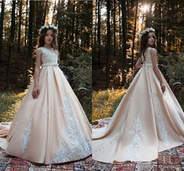 a16c59913 2019 Blush Pink Flower Girls Dresses Jewel Neck White Lace Appliques Sashes  Sweep Train Satin Birthday Communion Children Girl Pageant Gowns