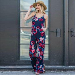 cotton blend fabric dress NZ - 1pc Drop Shipping Service - Womens Round Neck Printed Fabric Slip Jumpsuit 2 Colors Size S-3XL Style Number 8928