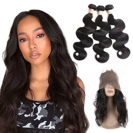 body wave hair one piece Canada - Malaysian Unprocessed Human Hair Body Wave 3 Bundles With 360 Lace Frontal Pre Plucked 4 Pieces One Set Virgin Hair Wefts With 360 Frontal
