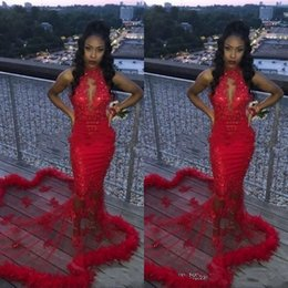 $enCountryForm.capitalKeyWord Australia - Red African 2K19 Mermaid Prom Dresses Feather Sequined Sexy Mermaid Evening Dress Count Train See Through Backless Cocktail Party Gowns