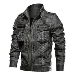 6xl motorcycle Australia - 2019 Jackets Men Outwear Tactical Bomber Jacket Men Winter Pilot PU Motorcycle Leather Windbreaker Warm Jacket Coats 5XL 6XL