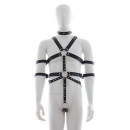 Men Punk Rivet Leather Harness Body Bondage Cage Bustier Corset Sculptin leather Suspenders Braces Pants Sexy Male belt from mens skinny trousers suppliers