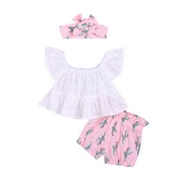 $enCountryForm.capitalKeyWord NZ - Ins Summer baby girls suits Girls Outfits lace tops+shorts+bows rompers baby girl clothes little girls clothing Infant Outfits A5328
