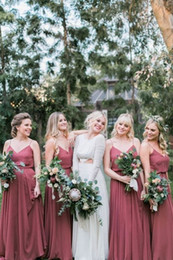 Pictures Wine Red Wedding Dress Australia - Modern Dusty Wine Red Cheap Bridesmaid Prom Evening Dresses With Straps V neck Empire Chiffon Long New Wedding party Bridesmaid dress Cheap
