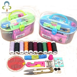Threading Needle Tools Australia - New Hot Portable Mini Travel PP Sewing Box With Color Needle Threads Sewing Kits Sewing Set DIY Home Tools Drop Shipping wry002