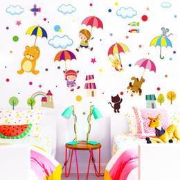 Decorative Bedroom Paintings Australia - Animal umbrella wall paste children's bedroom living room decorative painting PVC self-paste painting