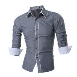 $enCountryForm.capitalKeyWord Australia - 2017 New Mens Long Sleeved Man Dress Shirts Double Collar Button Unique Design Slim Fit Brand Shirts Male Shirts