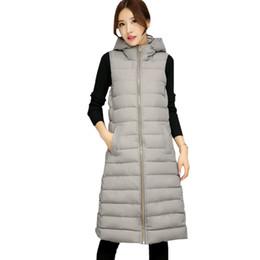 Hiver Longue Gilet Femmes 2017 De La Mode En Coton Rembourré À Capuche Chaud Sans Manches Manteaux Gilet Zipper Poches Survêtement Gilet Femme en Solde