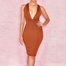 Red Knee Length Bodycon Dresses NZ - New sexy deep v-neck womens bodycon bandage dress vestido fashion slim autumn dresses brown red knee-length evening club party dresses
