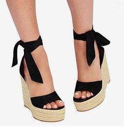 black weaves Canada - Lena ViVi black bowtie ankle wrap straw woven platform wedges heels sandals gladiator women sandals 16cm