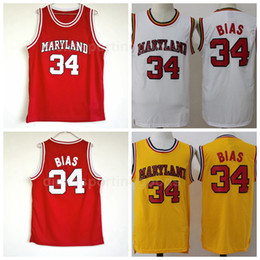 be20cc5e5 NCAA College 1985 Maryland Terps 34 Len Bias Jersey Men University Red  Yellow White Basketball Uniform For Sport Fans High Quality