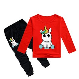 12y clothes 2019 - Unicorn Kids T-shirt +Trousers 2 Piece Sets 12 colors 1-12y Boys Girls Cartoon Printed kids clothing sets kids designer