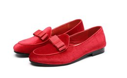 Men Dressed Red Shoe Australia - Men Formal Shoes Bowknot Wedding Dress Male Flats Gentlemen Casual Slip on Shoes Black Patent Leather Red Suede Loafers 1h70