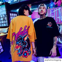 Wholesale t shirts different styles online – design National fashion hip hop tiger head T shirt Chinese style large size oversize different couple wear yellow short sleeved men
