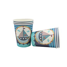 $enCountryForm.capitalKeyWord UK - 6pcs Disposable Cups Tableware Birthday Party Supplies Easter Wedding Decorations Kids Boy Baby Shower Blue Cups Event Party