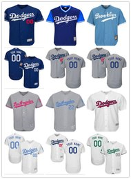 Wholesale custom Men s women youth Los Angeles Dodgers Jersey Any Your name and your number Home Blue Grey White Baseball Jerseys