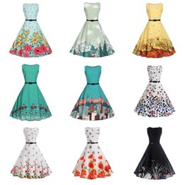 puffy skirt dresses knee length NZ - Teenage Girl A-line Dress Printed Round Neck Sleeveless Puffy Skirt Kids Girl Summer Vest Long Dress