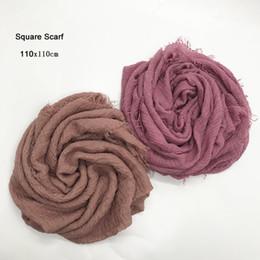 $enCountryForm.capitalKeyWord Australia - 10pcs lot Women Cotton Square Scarf Plain Wrinkle Crinkle Pleated Muslim Hijab Scarves with fringes Head Scarf Shawls