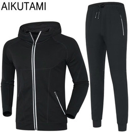 Sports Cardigans For Men Australia - Sports Suit for Men Running Jacket and Training Pants Sport Set Cardigan Hooded Thicker Warm Running Suits Gym Sportwear #561936