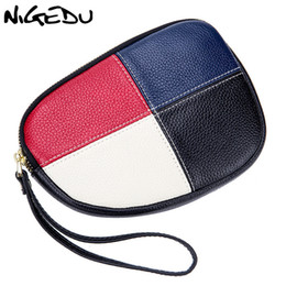 $enCountryForm.capitalKeyWord NZ - NIGEDU Genuine leather women day cluches fashion panelled color Qrganizer zipper phone bag ladies clutch purse Cowhide Wrist bag