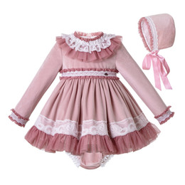 Christmas dress girl velvet online shopping - Pettigirl Fall Pink Pleated Baby Girl Dresses PP Pants Bonnet Piece Set Boutique Girls Party Dress Kids Clothes Sets G DMCS206 A348