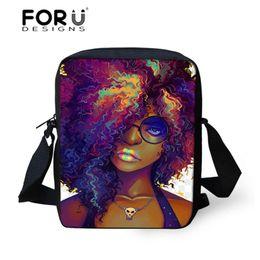 $enCountryForm.capitalKeyWord Australia - FORUDESIGNS Women's Handbags Black Art African Girl Printing Shoulder Messenger Bags for Kids Mini Crossbody Book Bag Sac A Dos