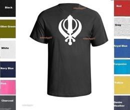 Sikh Khanda Schwert-Symbol T-Shirt Guru indisches Hemd GRÖSSEN S-5XL 2018 Sommer neue Männer Baumwolle Kurzarm T-Shirt im Angebot