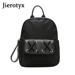 Black Backpack Punk Australia - JIEROTYX Punk Black Women Backpack School Bags For Teenager Girls Large Backpack Vintage Solid Shoulder Bags Sexy Rivets