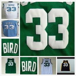 Großhandel 33 Larry Bird Herren 1992 USA Dream Team Trikots Old Style Grün Weiß Indiana State Sycamores College Celtic Basketball-Trikots Alle gestickt