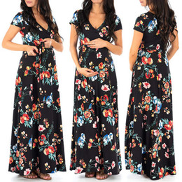trumpet skirt maxi dress Australia - Latest Export Popular export summer fashion maternity sexy printing dress clothes pregnant woman tight waist V-neck belt sleeve Mommy skirt