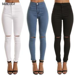 d5f1b885ce2b0 NIBESSER High Waist Casual Skinny Jeans For Women Hole Vintage Girls Slim  Ripped Denim Pencil Pants High Elasticity Black Blue