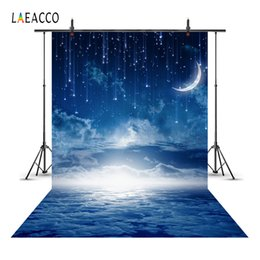 Discount night scenery painting - Laeacco Moon Stars Meteors Cloudy Sky Night Scenery Baby Photography Backgrounds Custom Photographic Backdrops For Photo