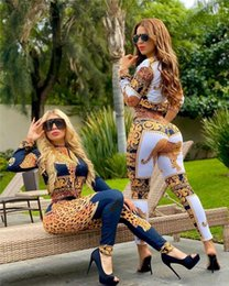 ladies sexy white pant suit Australia - Fly Trucksuits Females Fashion Casual Sets Ladies Sexy Leopard Vintage Printed Suits 2pcs Spring Patchwork Stand Collar Zipper