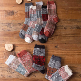 cotton soccer socks for men UK - High Quality Vintage Cotton Socks Men Stocking Comfortable National Wind Socks Warm Winter For Adult Male Gifts Casual Thick Stockings M757F