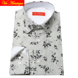 army dress whites Australia - custom tailor made Men's bespoke shirts business formal wedding ware bespoke blouse cotton white stripe printed grey floral