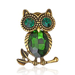 Glasses Brooch Australia - Europe and the United States new fashion retro glass crystal brooch high-end wild owl animal brooch