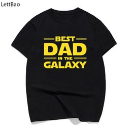 Discount galaxy clothes shorts - Best Dad In The Galaxy Harajuku Black T-shirt Casual Camisas Hombre Short Top Men Clothes Father's Day Gifts O-neck